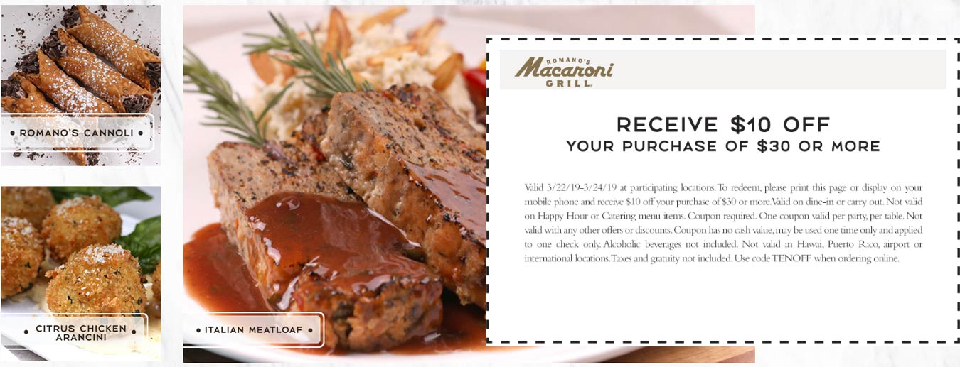 Macaroni Grill Coupon May 2019 $10 off $30 at Macaroni Grill restaurants