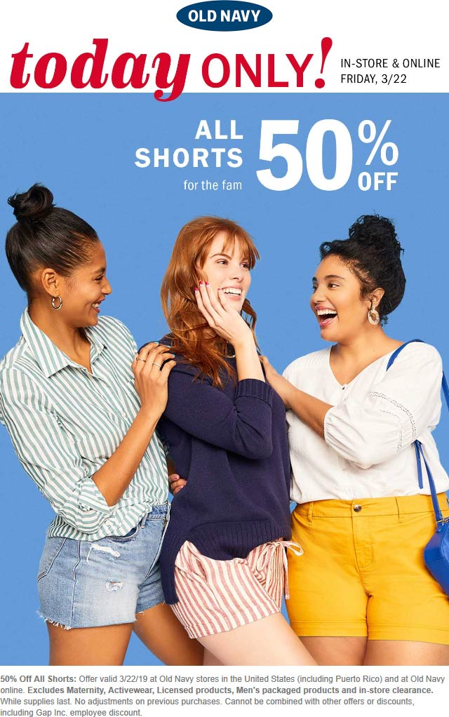Old Navy Coupon July 2019 50% off shorts today at Old Navy, ditto online