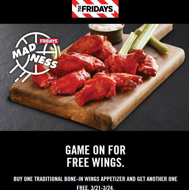 TGI Fridays Coupon January 2020 Second wings appetizer free at TGI Fridays