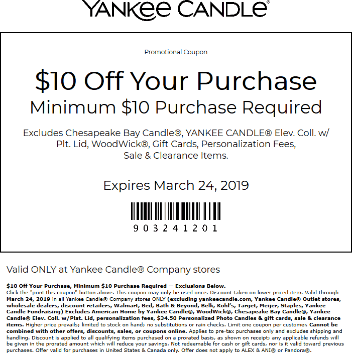 Yankee Candle Coupon September 2019 $10 off $10 at Yankee Candle