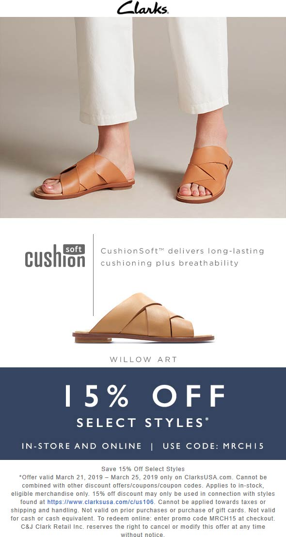 Clarks Coupon April 2019 15% off at Clarks shoes, or online via promo code MRCH15