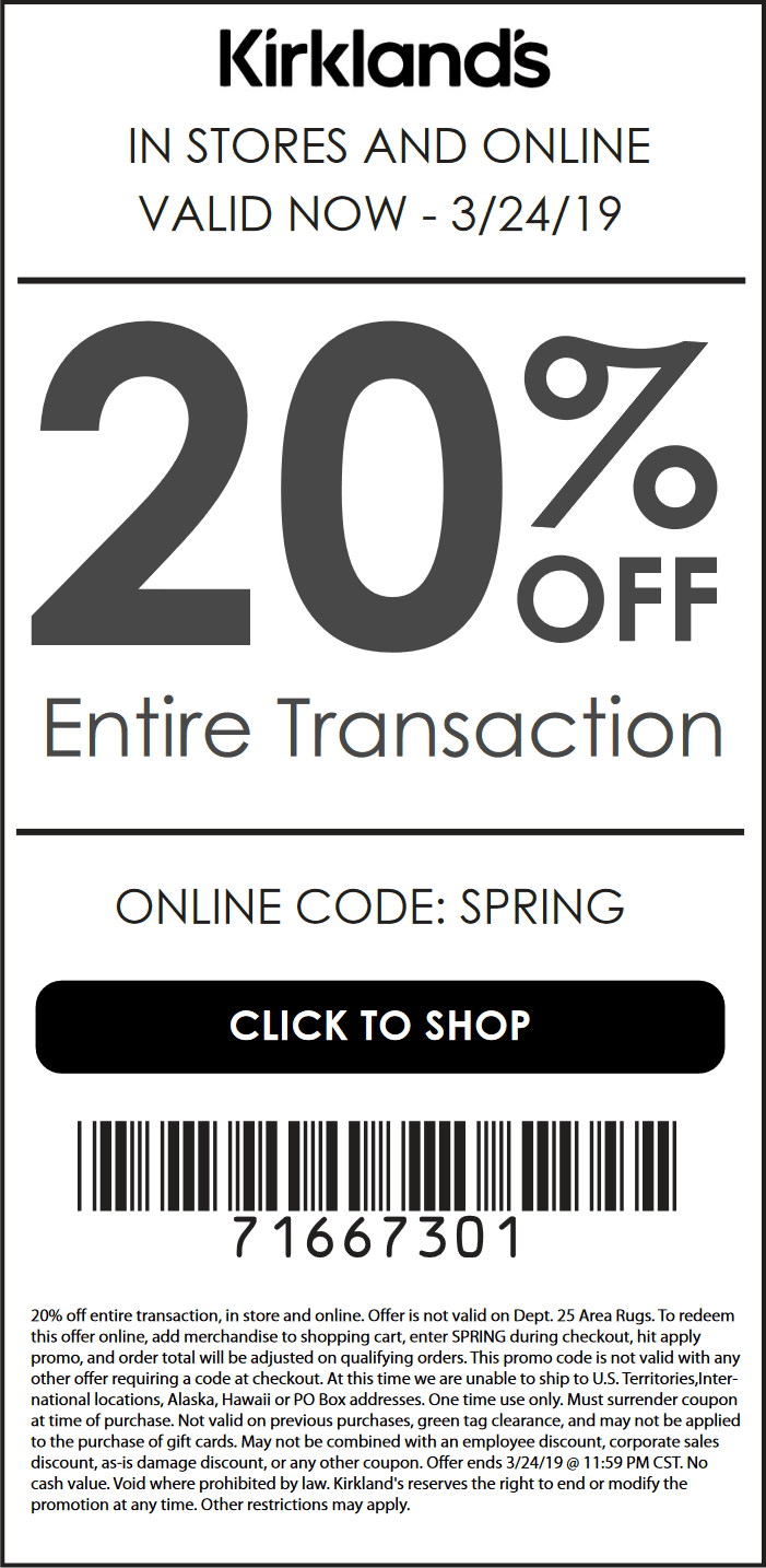 Kirklands.com Promo Coupon 20% off at Kirklands, or online via promo code SPRING