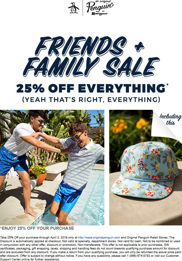 Original Penguin Coupon January 2020 25% off everything at Original Penguin, ditto online