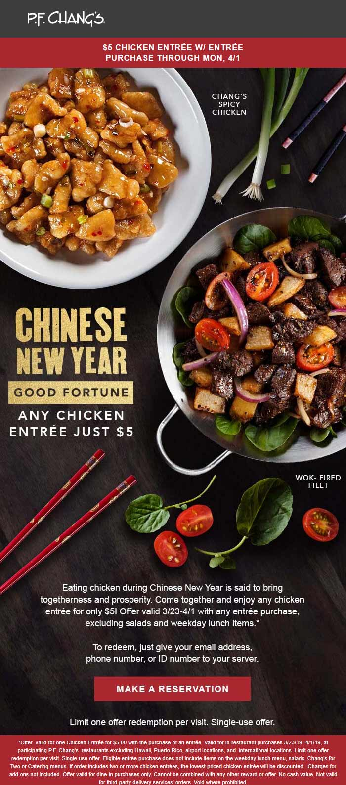 P.F. Changs Coupon May 2019 $5 chicken entree with your entree at P.F. Changs
