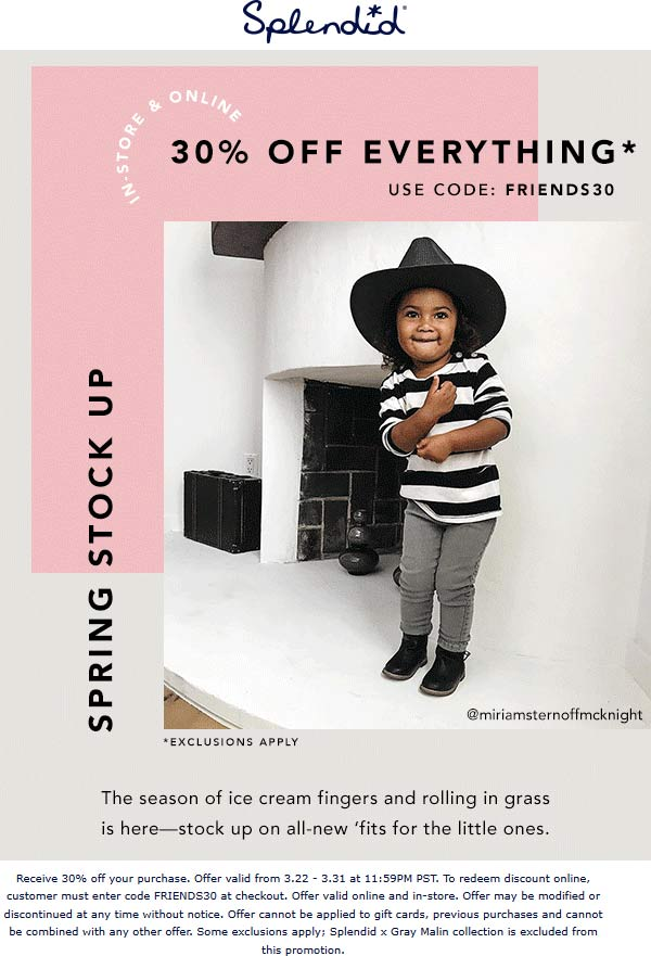 Splendid Coupon November 2019 30% off everything at Splendid, or online via promo code FRIENDS30