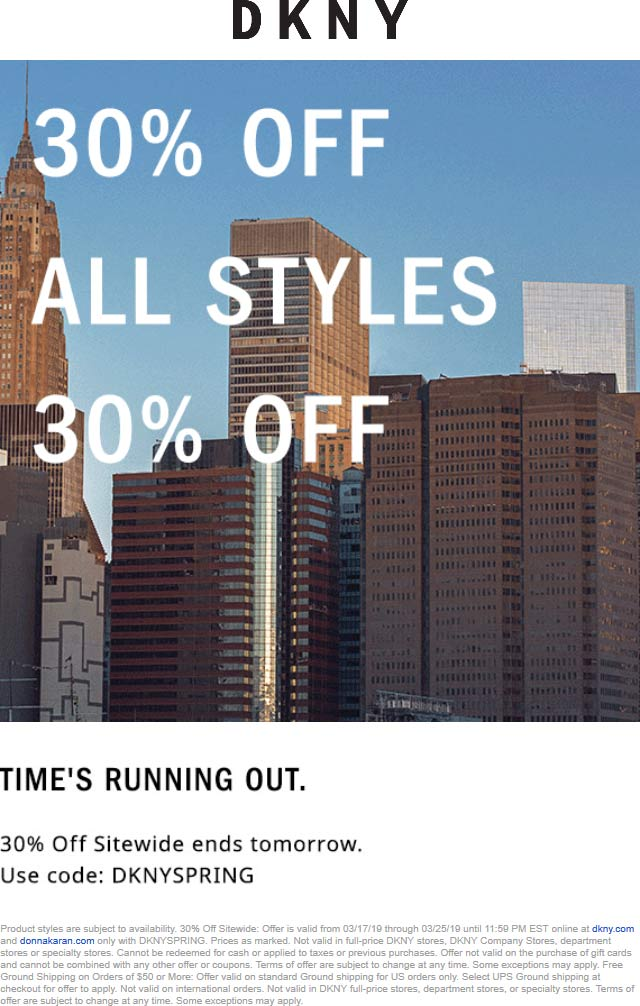 DKNY Coupon July 2019 30% off everything online at DKNY via promo code DKNYSPRING