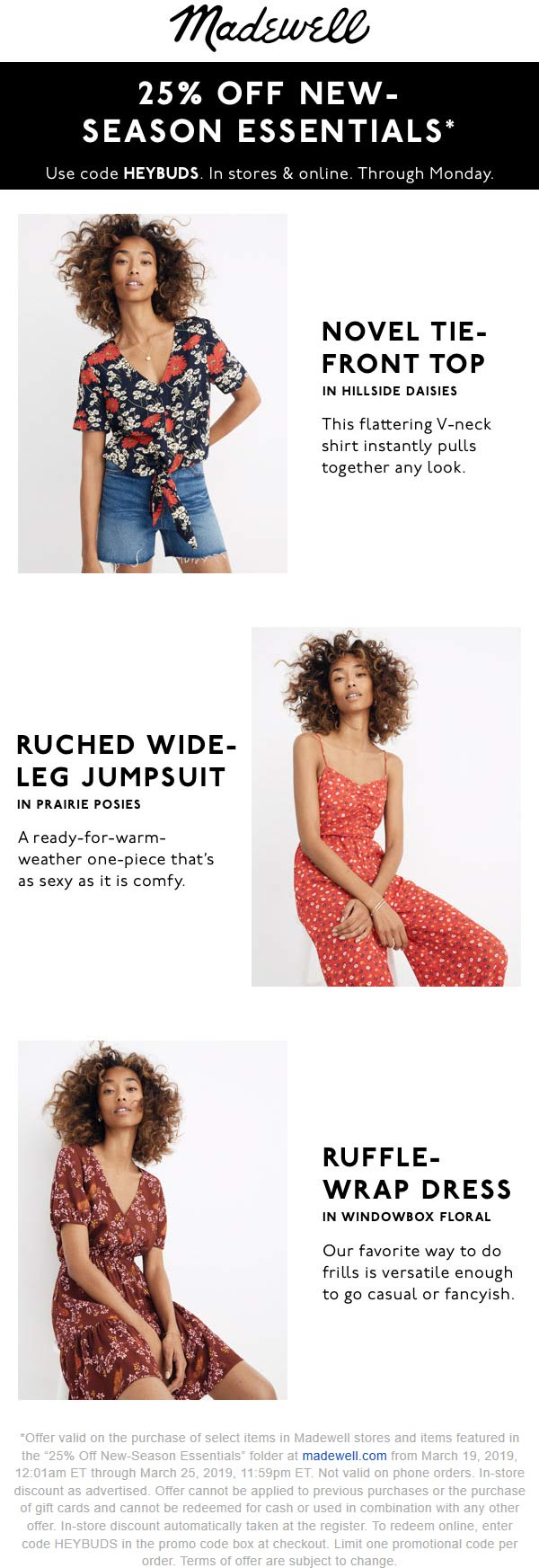 Madewell Coupon June 2019 25% off spring at Madewell, or online via promo code HEYBUDS