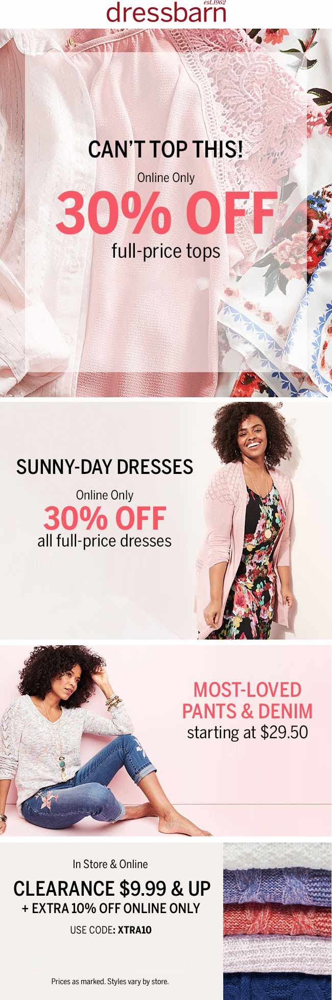 Dressbarn.com Promo Coupon 30% off tops online at Dressbarn, no code needed
