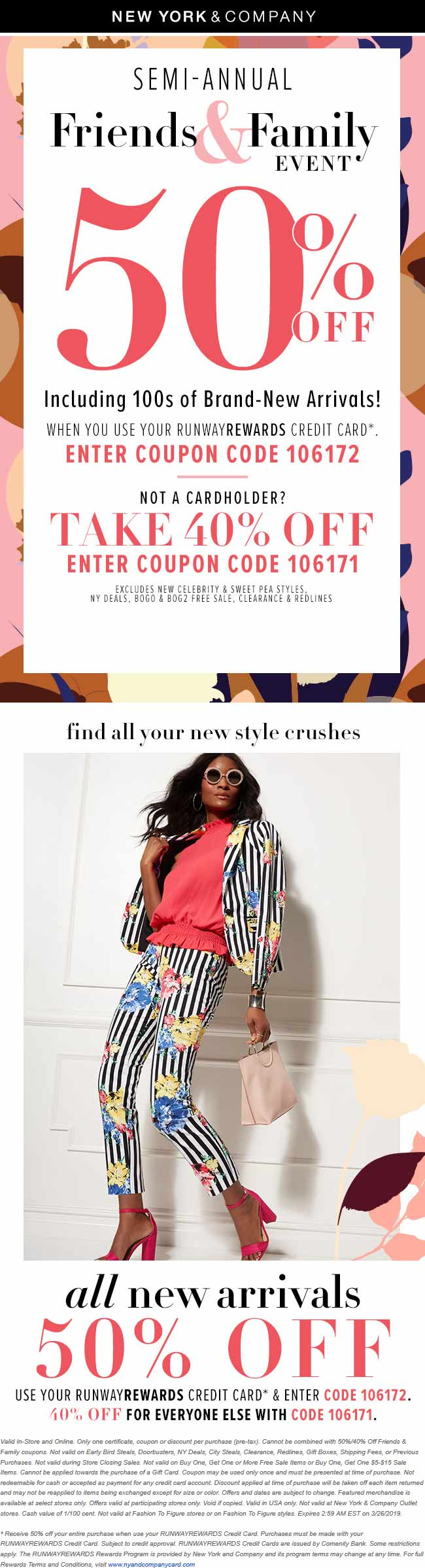 New York & Company Coupon August 2019 40-50% off today at New York & Company, or online via promo code 106171