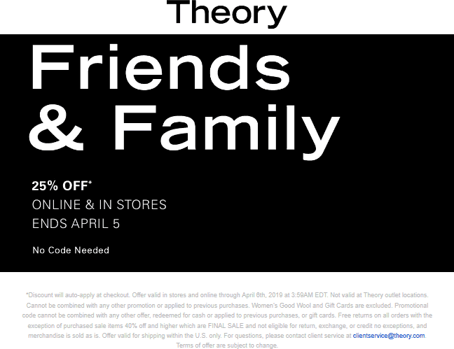 Theory Coupon September 2019 25% off at Theory, ditto online