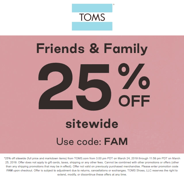 TOMS Coupon November 2019 25% off online at TOMS shoes via promo code FAM