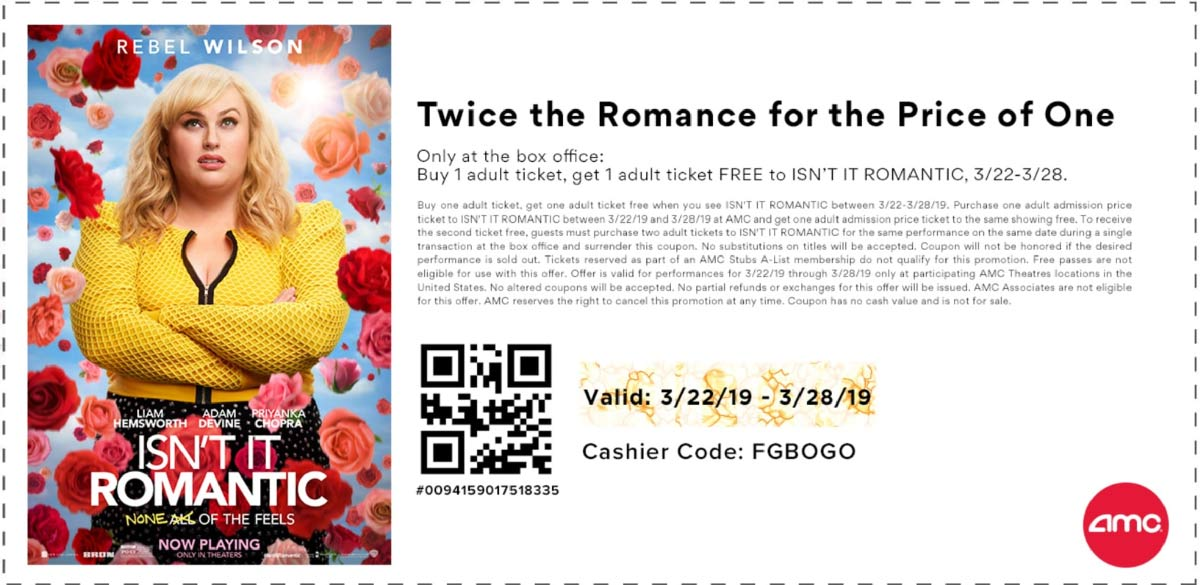 AMC Theaters Coupon June 2019 Second romantic movie ticket free at AMC Theaters