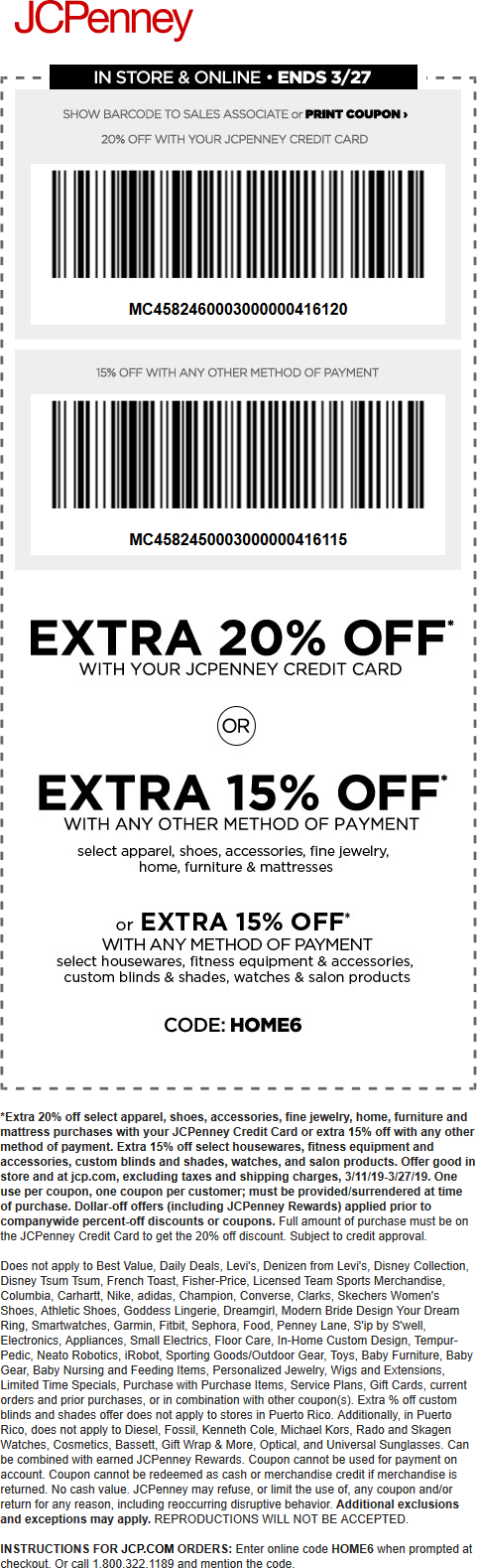 JCPenney Coupon May 2019 15% off at JCPenney, or online via promo code HOME6