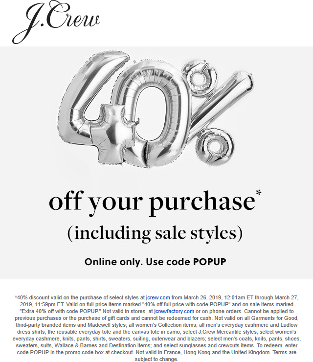 J.Crew Coupon May 2019 40% off online at J.Crew via promo code POPUP