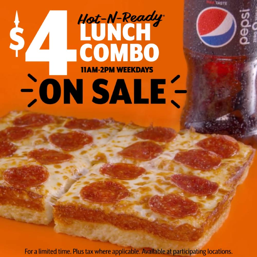 Little Caesars Coupon November 2019 $4 lunch combo meal at Little Caesars pizza