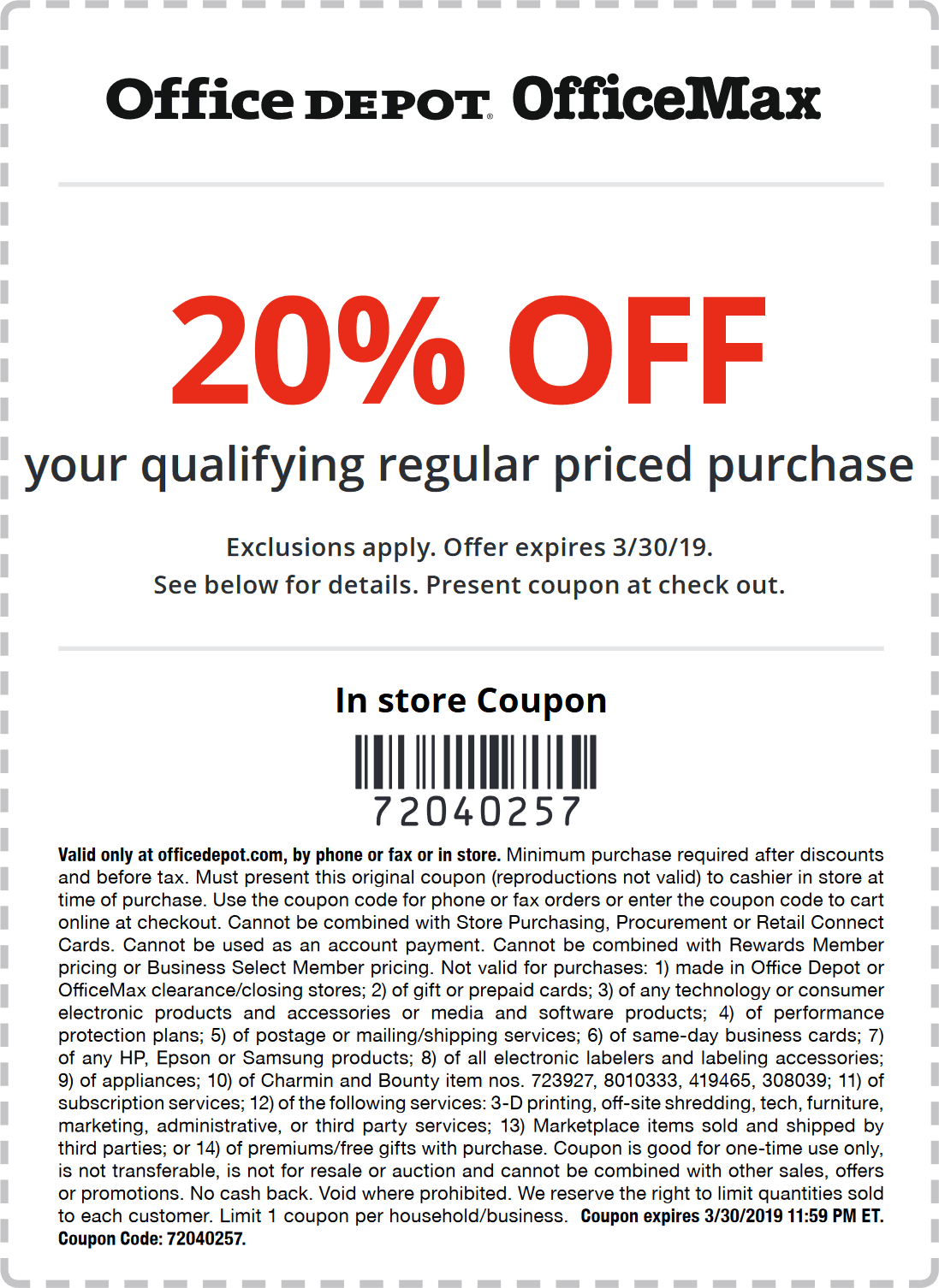 Office Depot Coupon August 2019 20% off at Office Depot & OfficeMax, or online via promo code 72040257