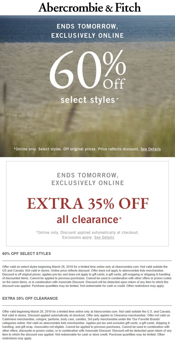 Abercrombie & Fitch Coupon May 2019 Extra 35% off clearance online at Abercrombie & Fitch