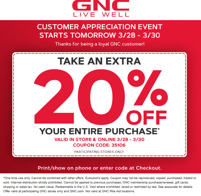 GNC Coupon November 2019 20% off at GNC, or online via promo code 35106