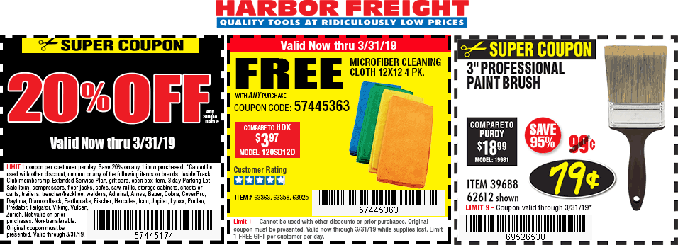 Harbor Freight Tools Coupon July 2019 20% off a single item at Harbor Freight Tools