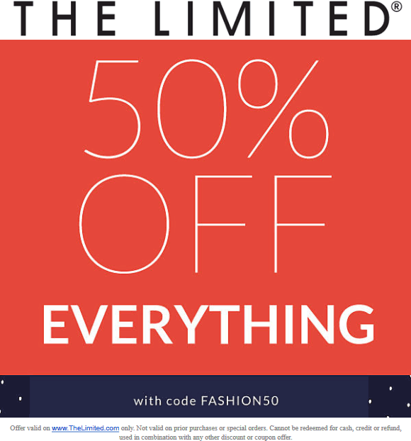 The Limited Coupon May 2019 50% off everything online today at The Limited via promo code FASHION50