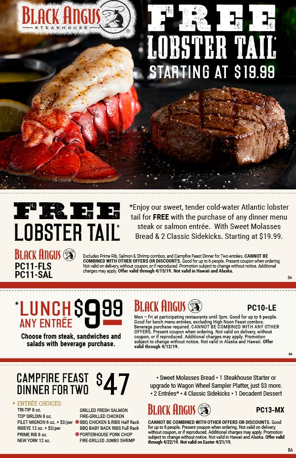 Black Angus Coupon November 2019 Free lobster tail with your entree & more at Black Angus steakhouse