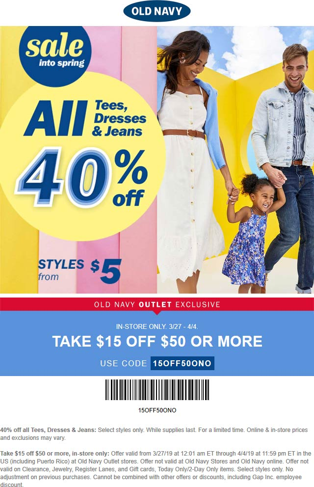 Old Navy Outlet Coupon October 2019 $15 off $50 at Old Navy Outlet