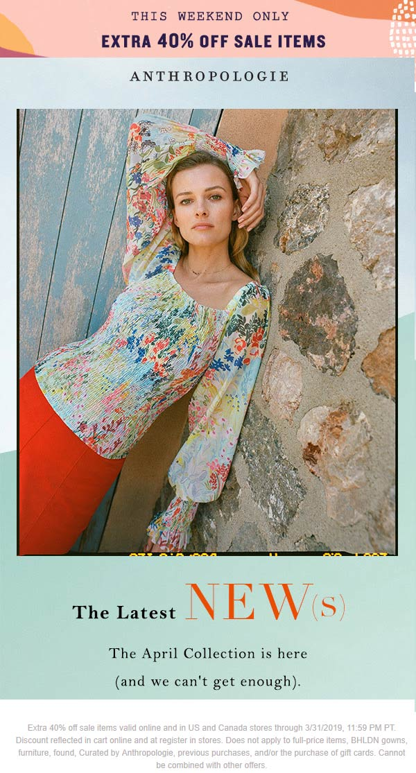 Anthropologie Coupon January 2020 Extra 40% off sale items at Anthropologie, ditto online