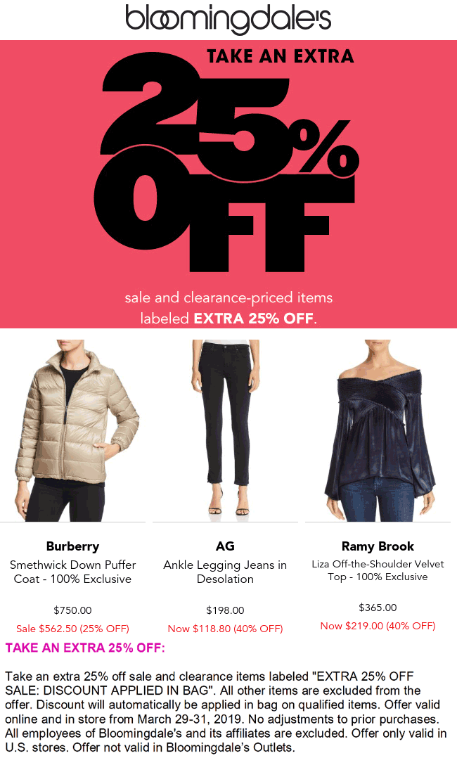 Bloomingdales Coupon October 2019 Extra 25% off sale & clearance items at Bloomingdales, ditto online