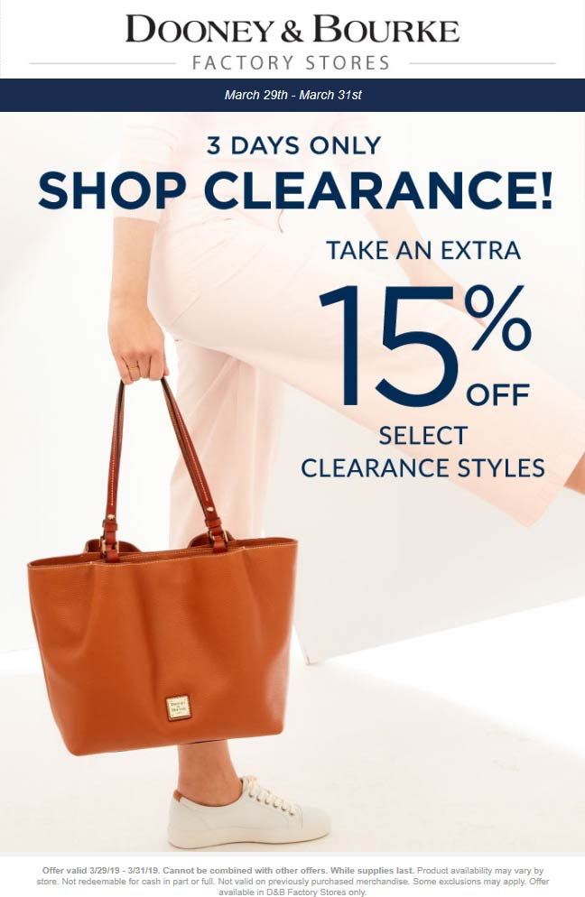 Dooney & Bourke Factory Coupon January 2020 Extra 15% off clearance at Dooney & Bourke Factory