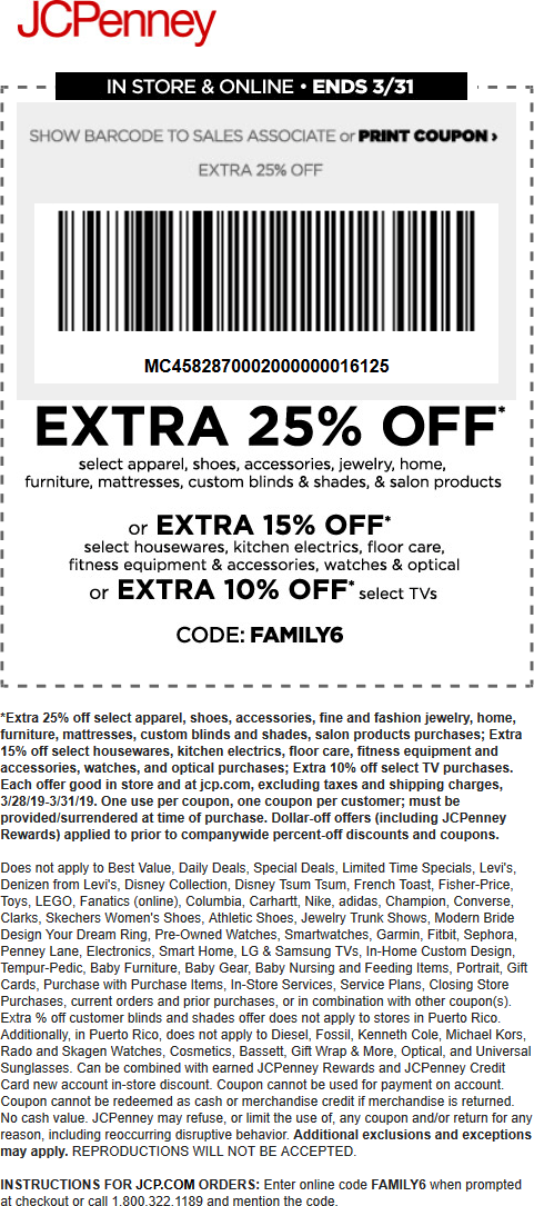 JCPenney Coupon July 2019 Extra 25% off at JCPenney, or online via promo code FAMILY6