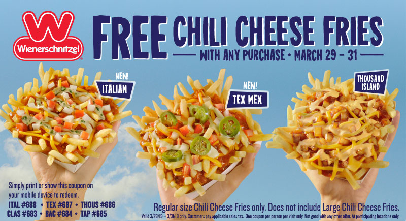 Wienerschnitzel Coupon June 2019 Free chili cheese fries with any order at Wienerschnitzel restaurants