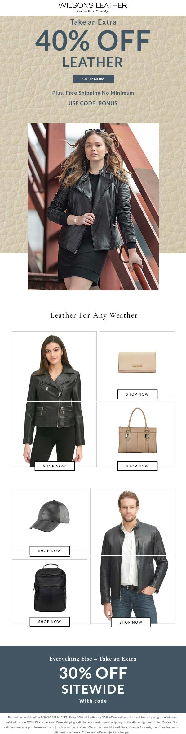 Wilsons Leather Coupon October 2019 30-40% off everything at Wilsons Leather, or online via promo code BONUS