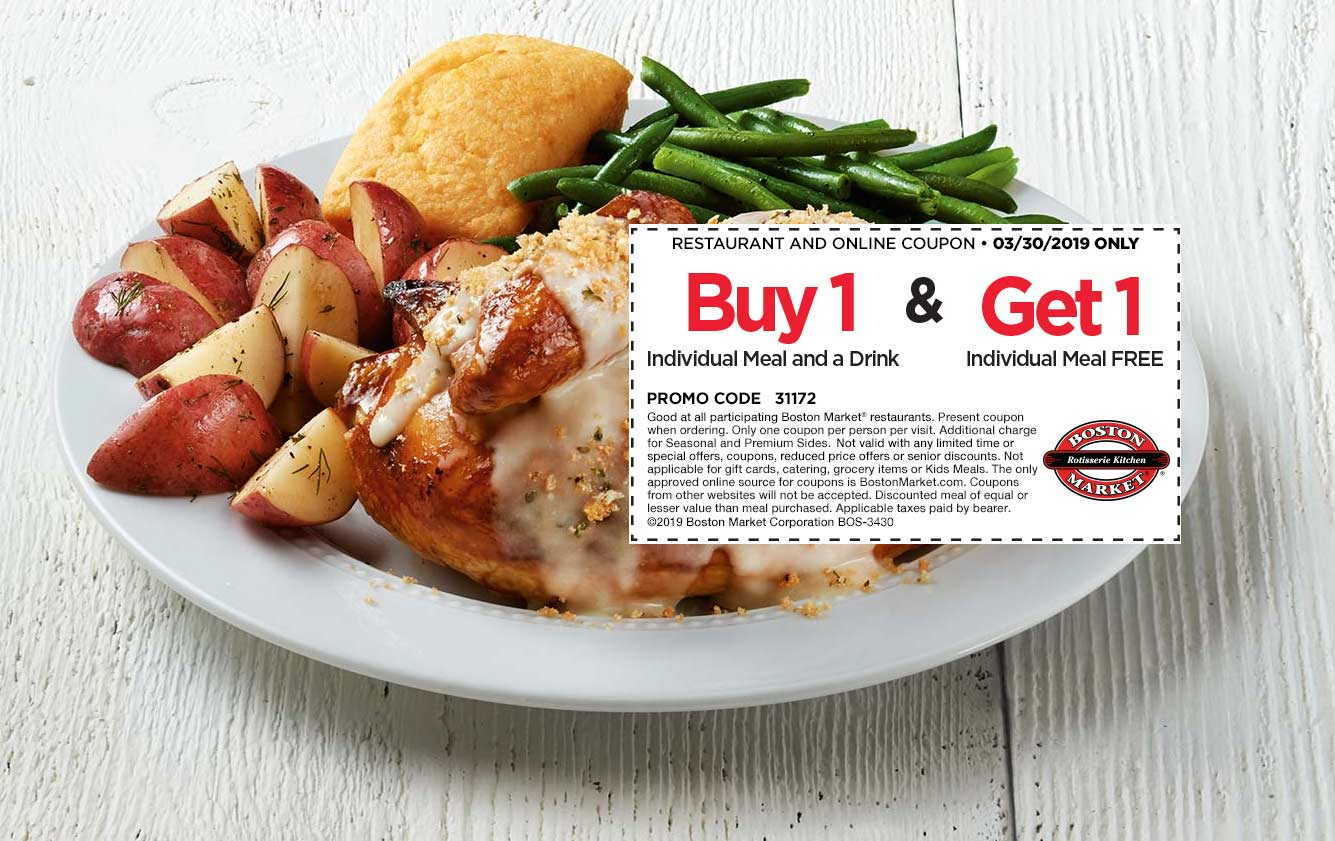 Boston Market Coupon December 2019 Second meal free today at Boston Market