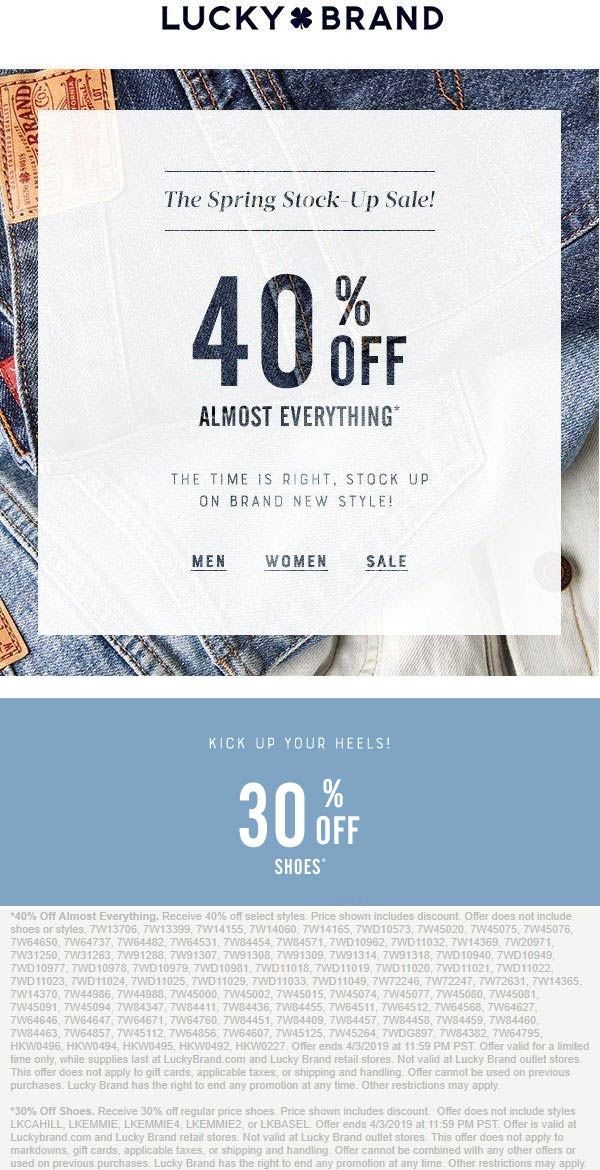 Lucky Brand Coupon January 2020 40% off at Lucky Brand, ditto online