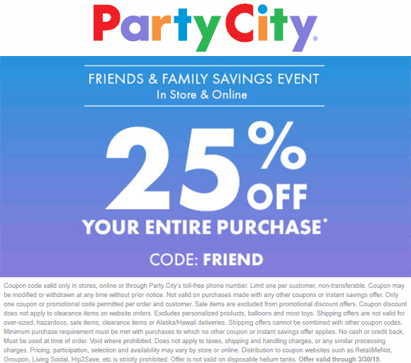 Party City Coupon January 2020 25% off everything today at Party City, or online via promo code FRIEND