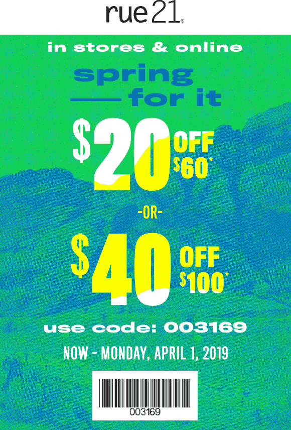 Rue21 Coupon June 2019 $20 off $60 & more at rue21, or online via promo code 003169