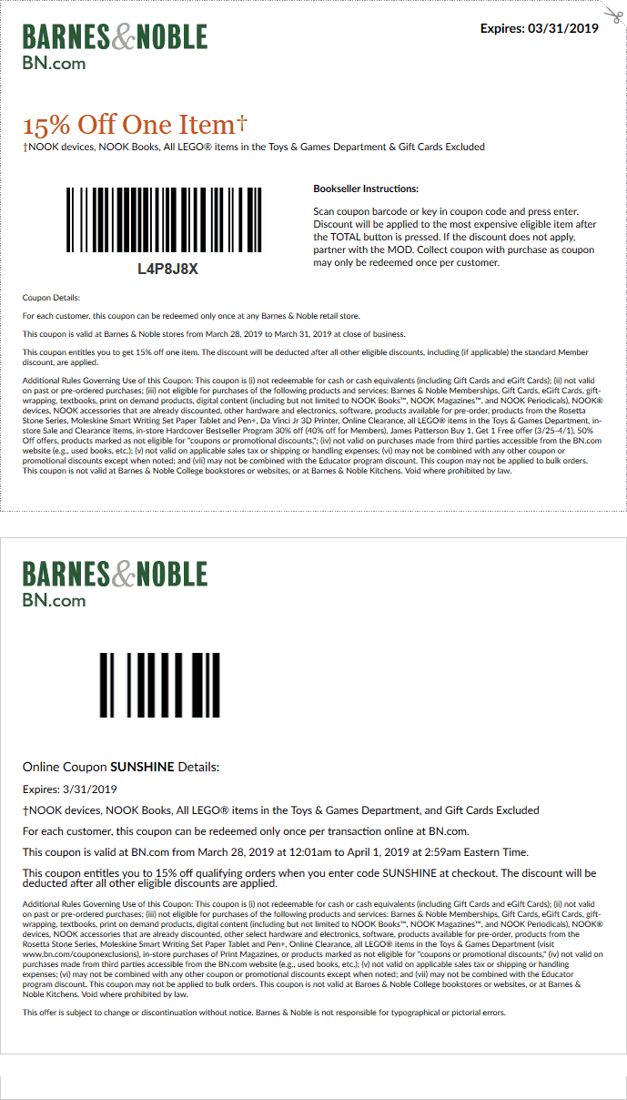 Barnes & Noble Coupon November 2019 15% off a single item today at Barnes & Noble, or online via promo code SUNSHINE