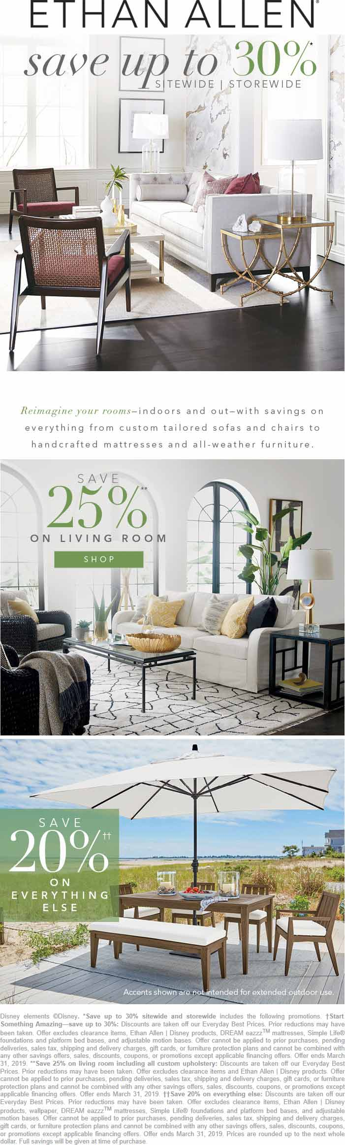 Ethan Allen Coupon December 2019 20-30% off everything today at Ethan Allen, ditto online