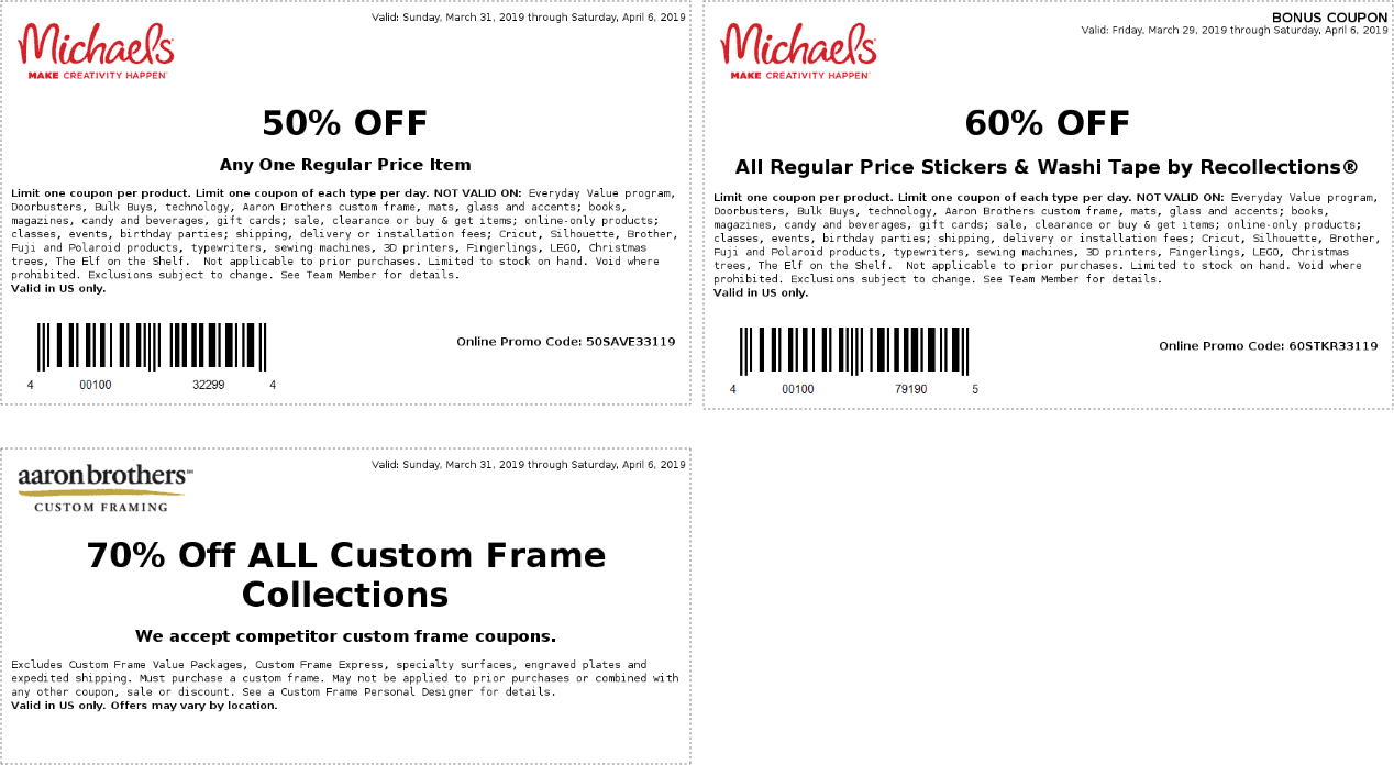 Michaels Coupon October 2019 50% off a single item at Michaels, or online via promo code 50SAVE33119
