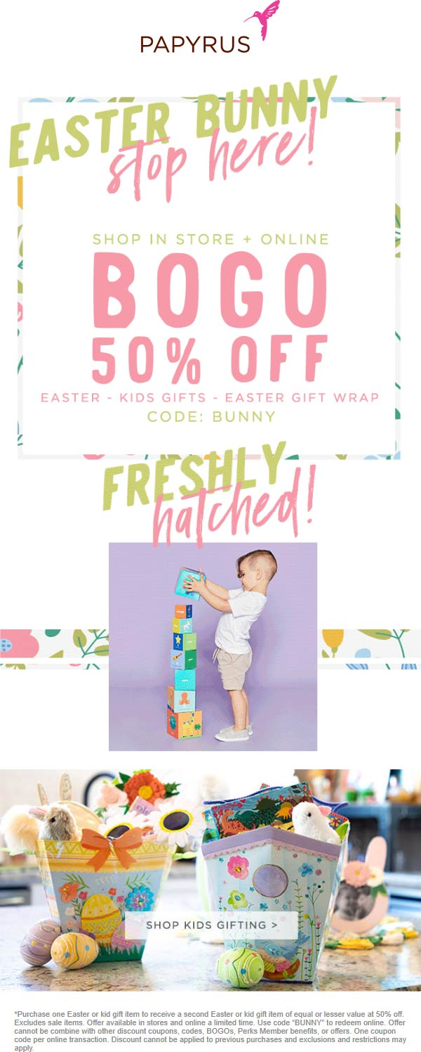 Papyrus Coupon July 2019 Second Easter item 50% off at Papyrus, or online via promo code BUNNY