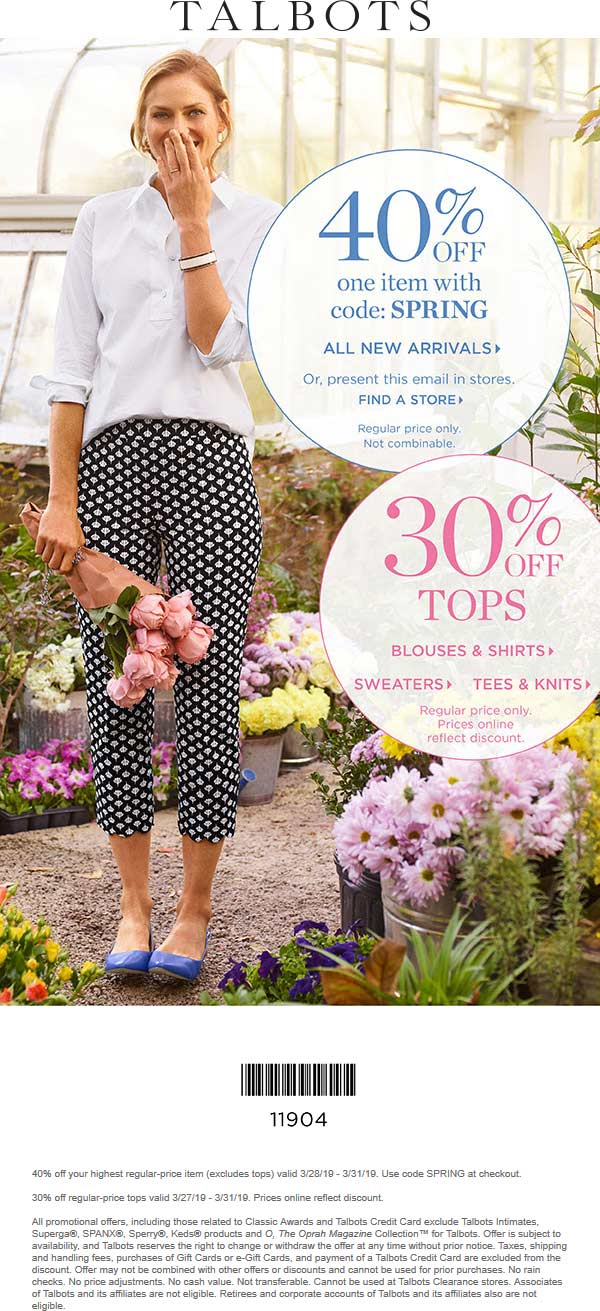 Talbots Coupon May 2019 40% off a single item today at Talbots, or online via promo code SPRING