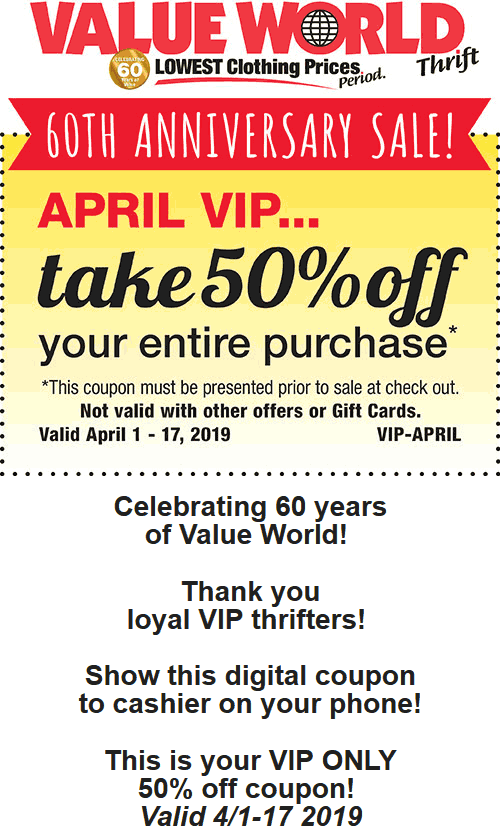 Value World Coupon January 2020 50% off everything at Value World