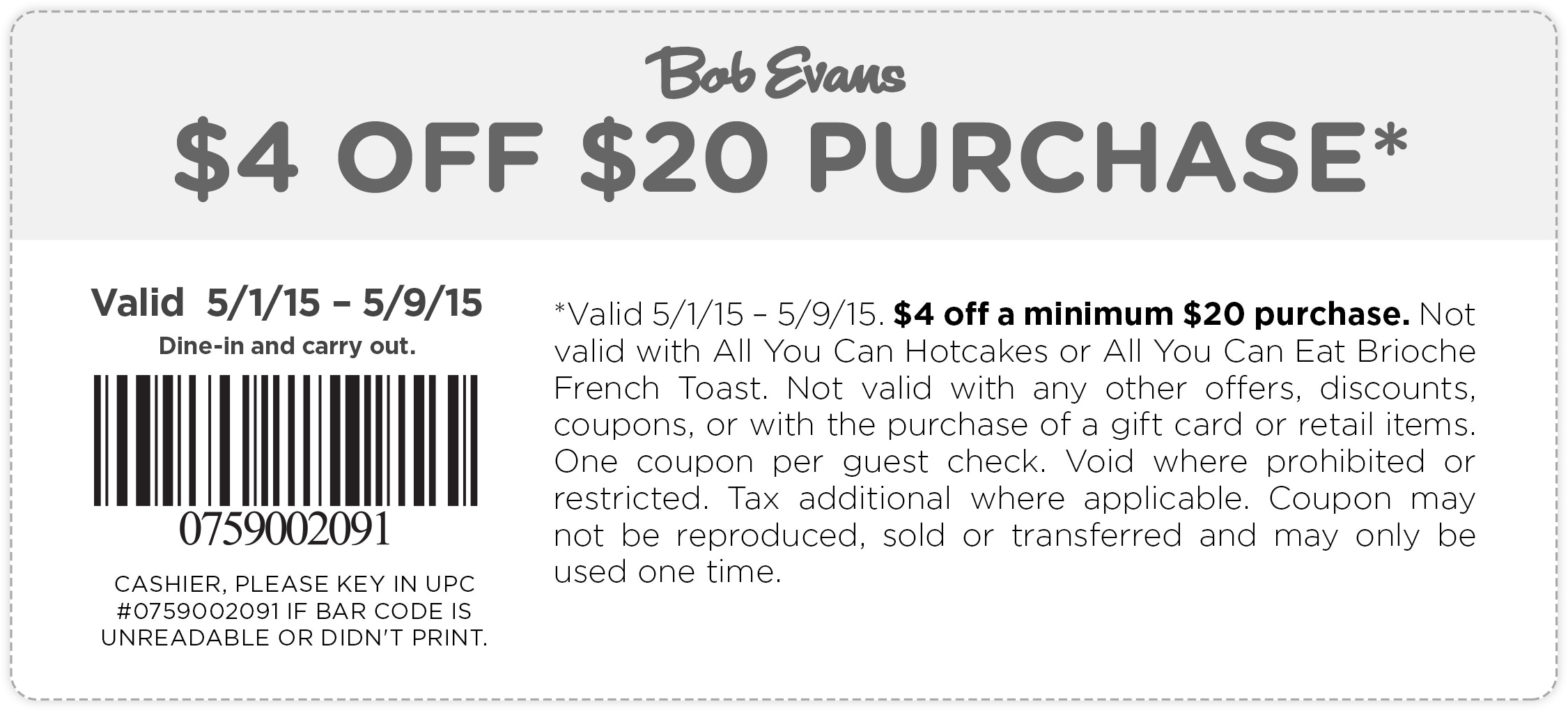 Bob Evans Coupon August 2018 $4 off $20 at Bob Evans restaurants