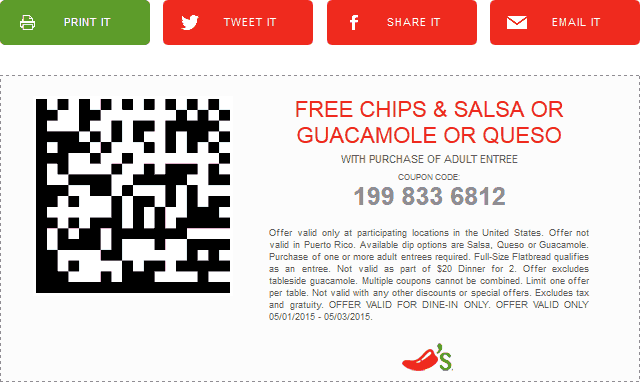 Chilis Coupon April 2018 Free chips & dip with your entree at Chilis