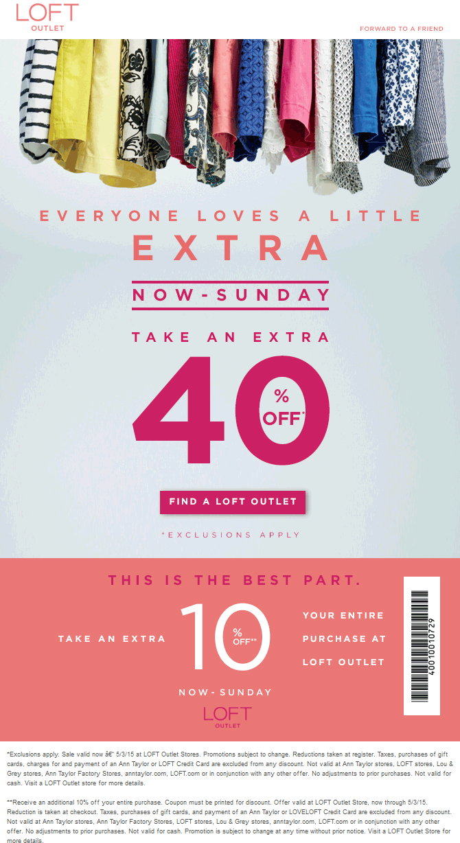 LOFT Coupon February 2017 Extra 50% off at LOFT Outlet locations