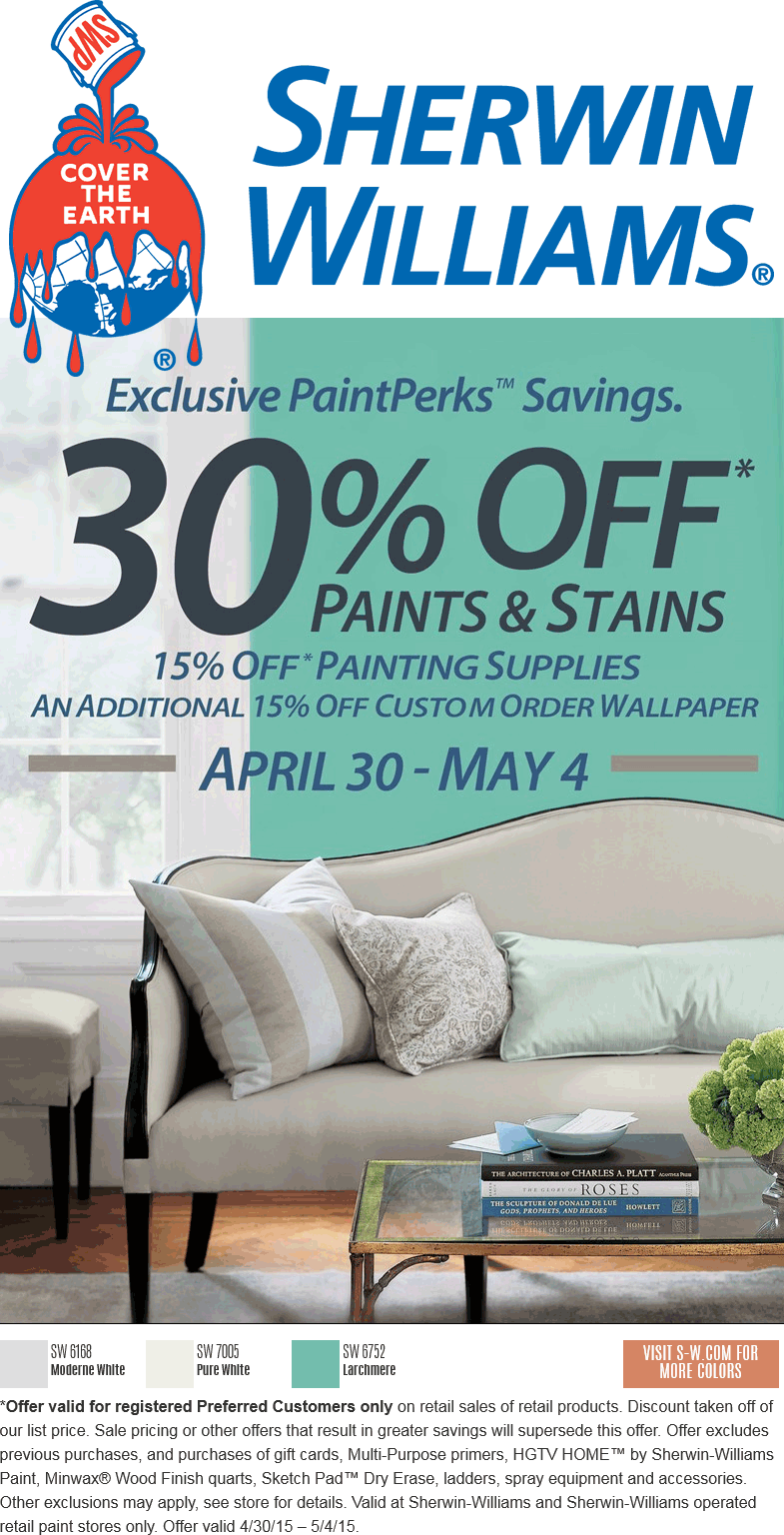 Sherwin Williams Coupon June 2018 30% off paint & stains at Sherwin Williams