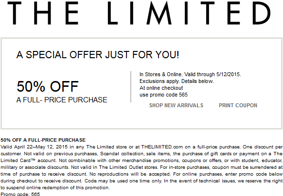 The Limited Coupon April 2019 50% off at The Limited, or online via promo code 565
