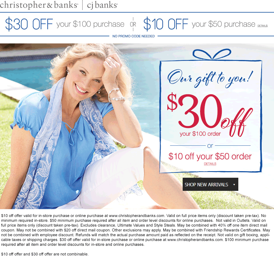 Christopher & Banks Coupon September 2018 $10 off $50 & more at Christopher & Banks, ditto online