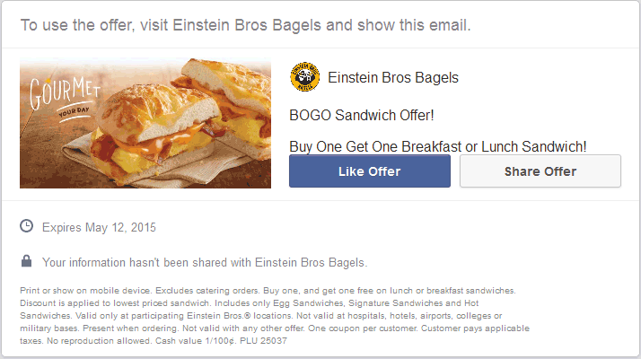 Einstein Bros Bagels Coupon July 2017 Second sandwich free at Einstein Bros Bagels
