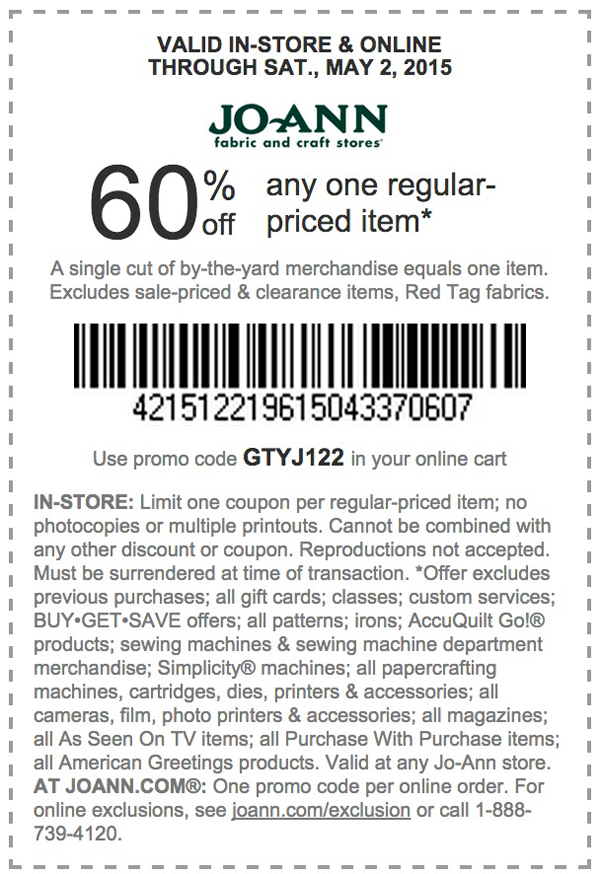 Jo-Ann Coupon December 2016 60% off a single item today at Jo-Ann Fabric, or online via promo code GTYJ122